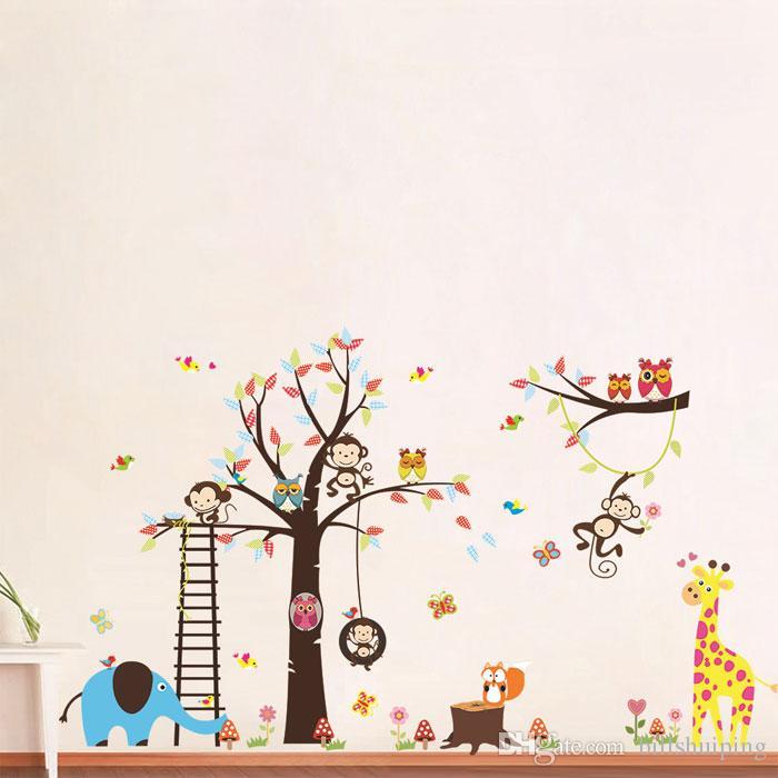 Cartoon Large Tree with Lion Giraffe Elephant Owls DIY Wall Decal Nursery Room Home Décor Wall Stickers