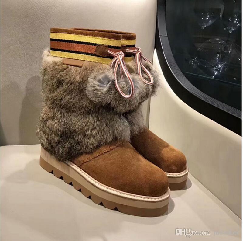 628720e33807 New Arrivel Winter Plush Snow Boots Woman Fur Pompoms Decor Round ...