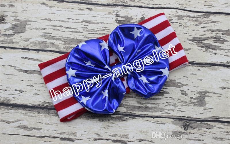 30個の女性/赤ん坊の旗の旗の結び目の吹き付け弓ターバンツイストヘアバンドの花7月4日ヘッドバンドヘッドラップストライプスターズヘッドラップFD6550