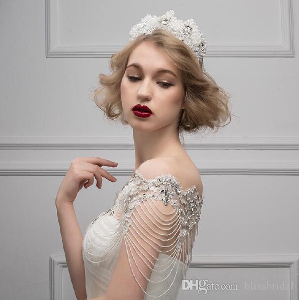 Neue hochwertige Braut Schulter Kette Braut Kristalle Lace Wraps Hochzeit Brautmode Halskette Schmuck Strass edle Romantik Vintage