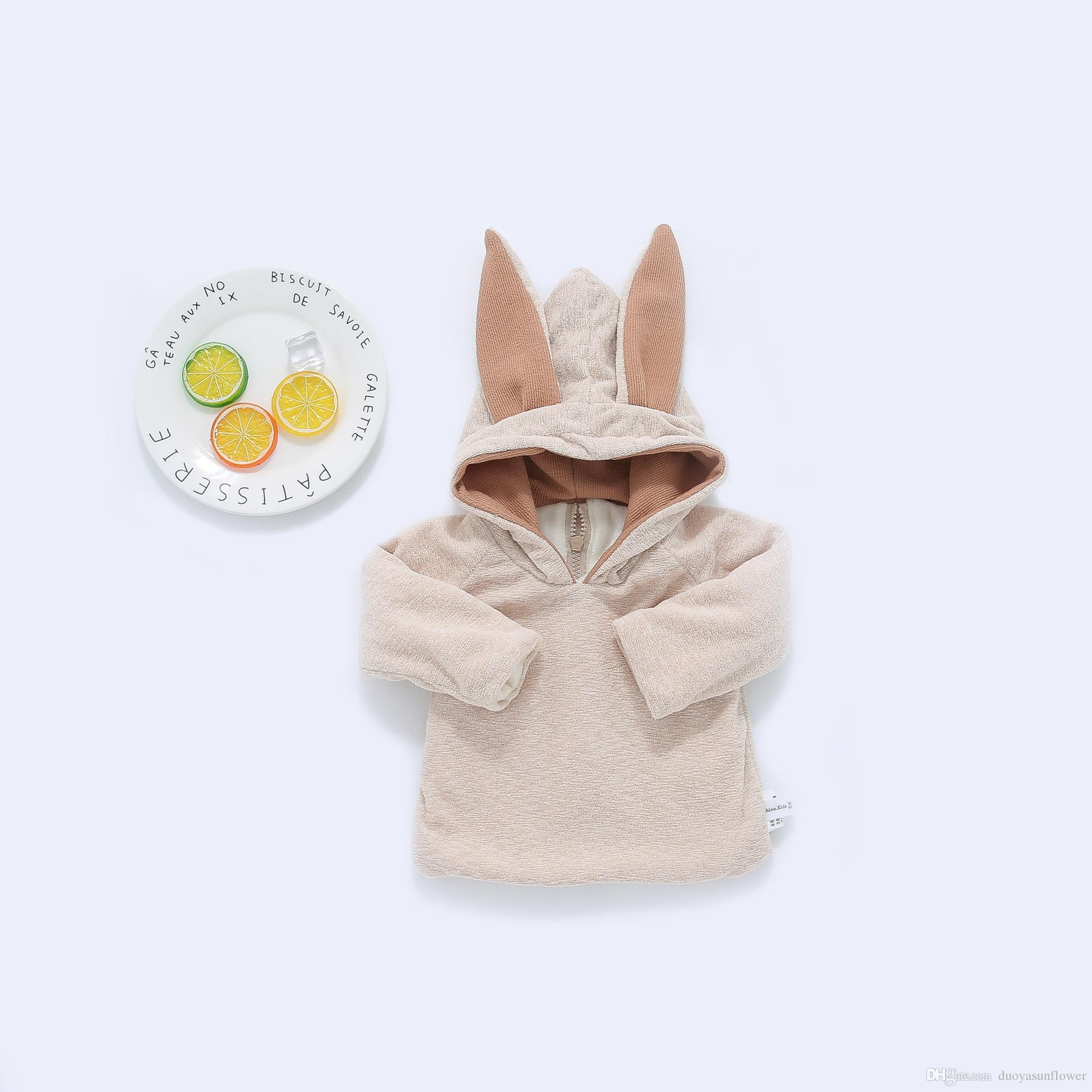 6987fc35a397 2019 2017 NEW Cute Baby Girl Boy 3D Rabbit Ear Solid Color Velvet ...