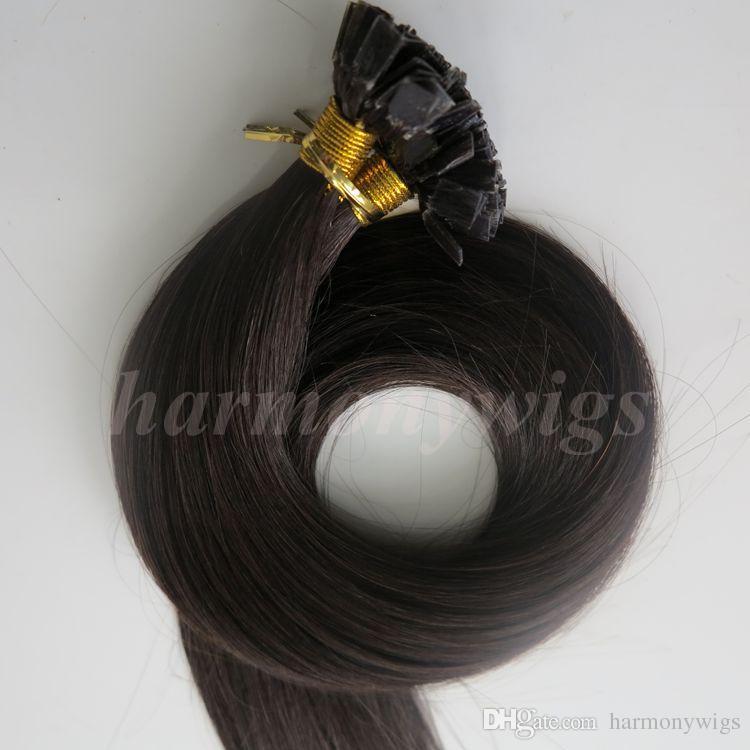 200g 1 conjunto = 200 vertentes cabelo de ponta plana pré ligado extensões de cabelo de queratina 18 20 22 24 polegadas # 1B / Off Preto Brasileiro Remy Indiano Do Cabelo Humano