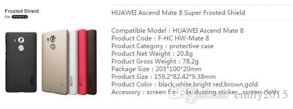 Alta qualidade matte case capa para huawei ascend companheiro 8 nillkin super fosco escudo para huawei com pacote de varejo livre film