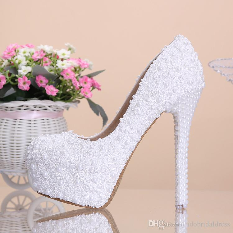 2015 New Arrival Cheap High Quality White Beautiful Vogue Lace Pearl Crystal Heels Wedding Bridal Shoes Shop Silver Uk From