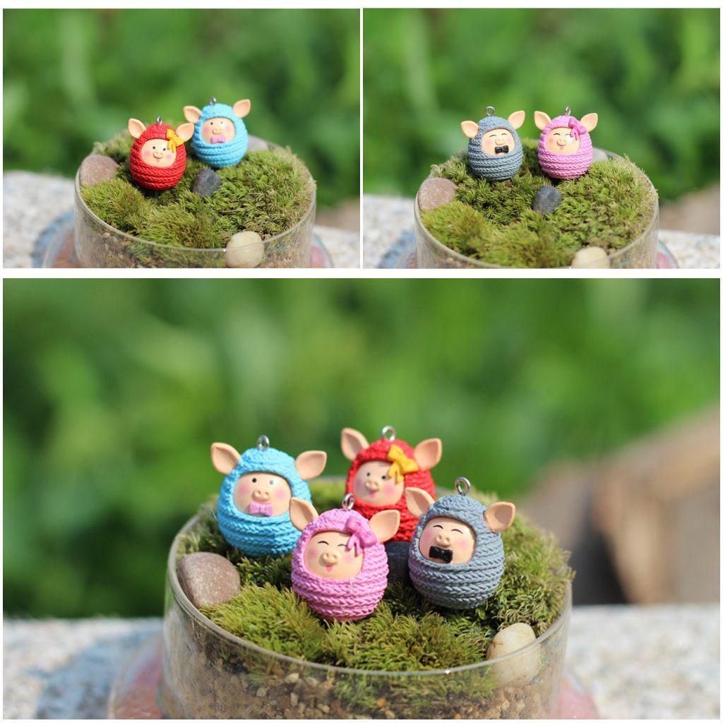DIY Piggy Pig Figurines Keychain Little Flower Pots Dish Garden ...