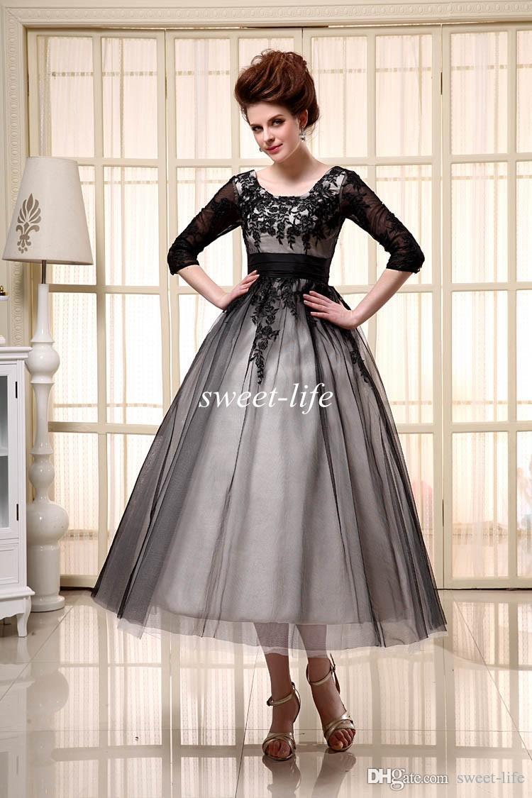 2019 Vestidos de cóctel negros Longitud del té Medias mangas Barato En stock Scoop Tulle Lace Up Applique A-Line Vestidos de noche para mujer Vestido de fiesta