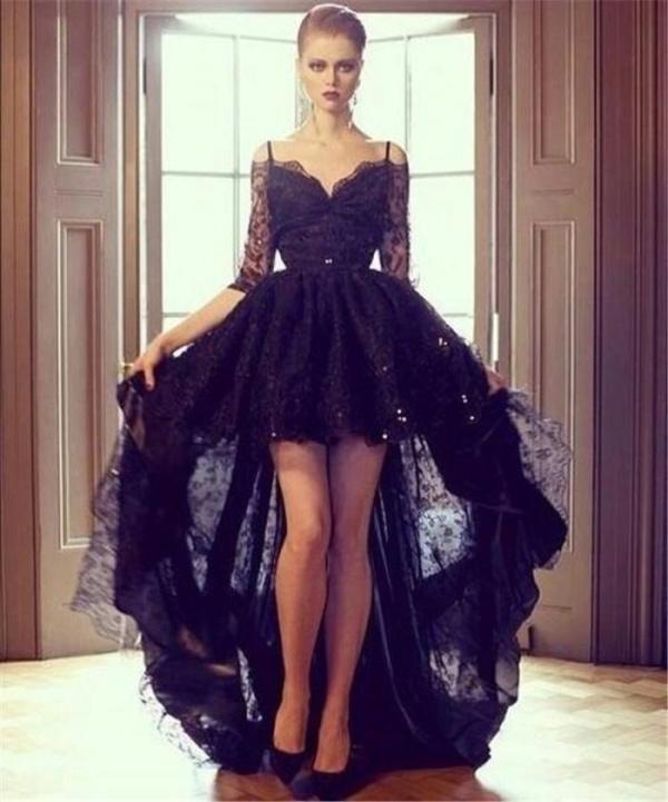 Short Sleeves Front Short Long Back Black Lace Hi-Lo Fancy