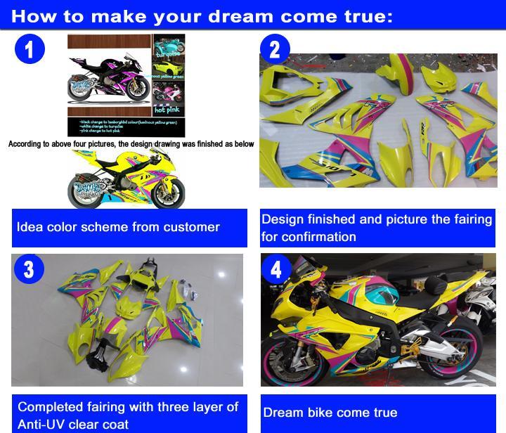 Kit de carénage en plastique pour SUZUKI GSXR750 GSXR600 2008-2010 K8 K9 tous les carénages noirs brillants GSXR600 / 750 08 09 de motos KS48