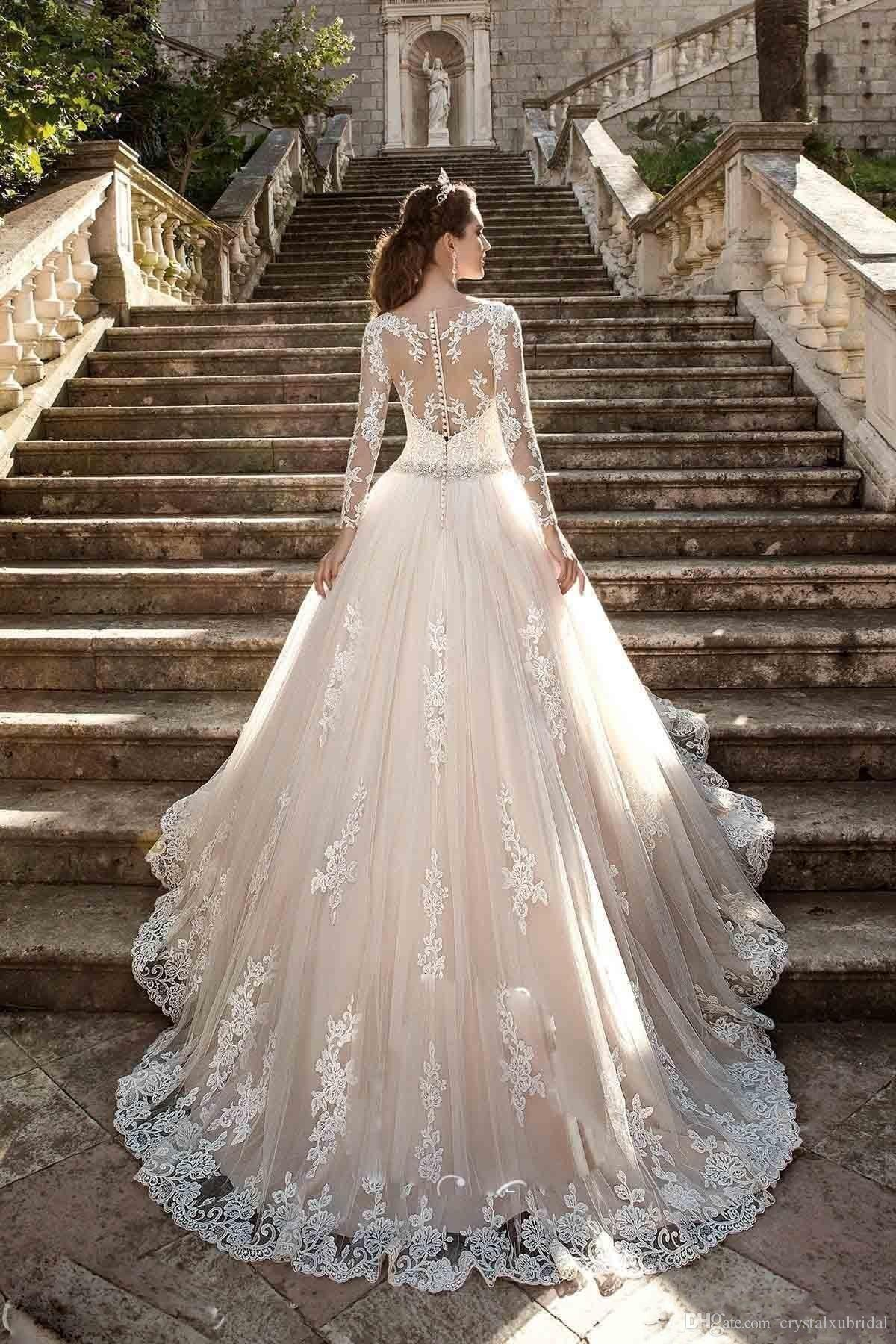 Milla Nova 2018 Wedding Dresses Jewel Neck Long Sleeves Lace Appliques Beaded A Line Court Train Blush Pink Tulle Plus Size Bridal Gowns