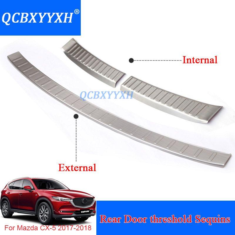 Araba Styling Paslanmaz Çelik İç Ve Dış Araba Arka Kapı eşik Trim Dekorasyon Aksesuar Mazda CX-5 2017 2018 Için