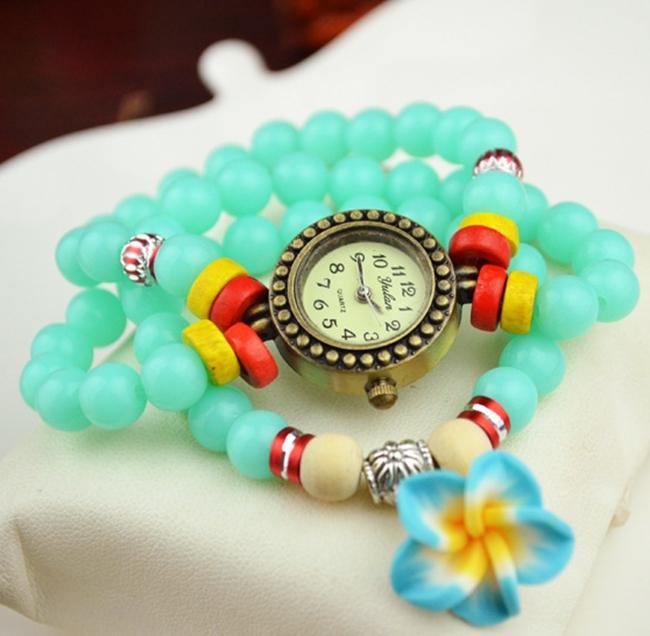 Top New Fashion Women Ladies Beads Bracelet Flower Pendant Colorful Dress Plastic Bracelet Wristwatch Gift Watch