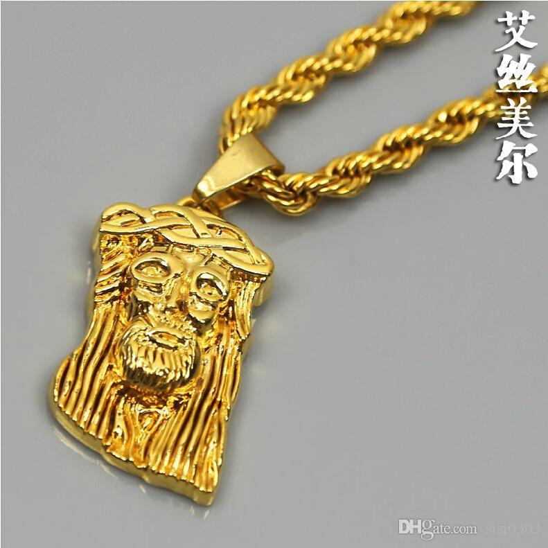 Wholesale jesus pendants 80cm long necklace 24k gold plated fill jesus pendants 80cm long necklace 24k gold plated fill high quality fashion hiphop chain men jewelry statement necklace bijouterie new aloadofball Gallery