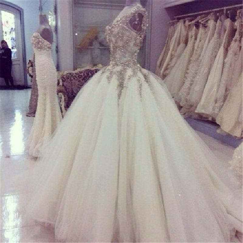Glitter Wedding Gowns: 2015 Real Image Glitter Wedding Dresses Jewel Beads