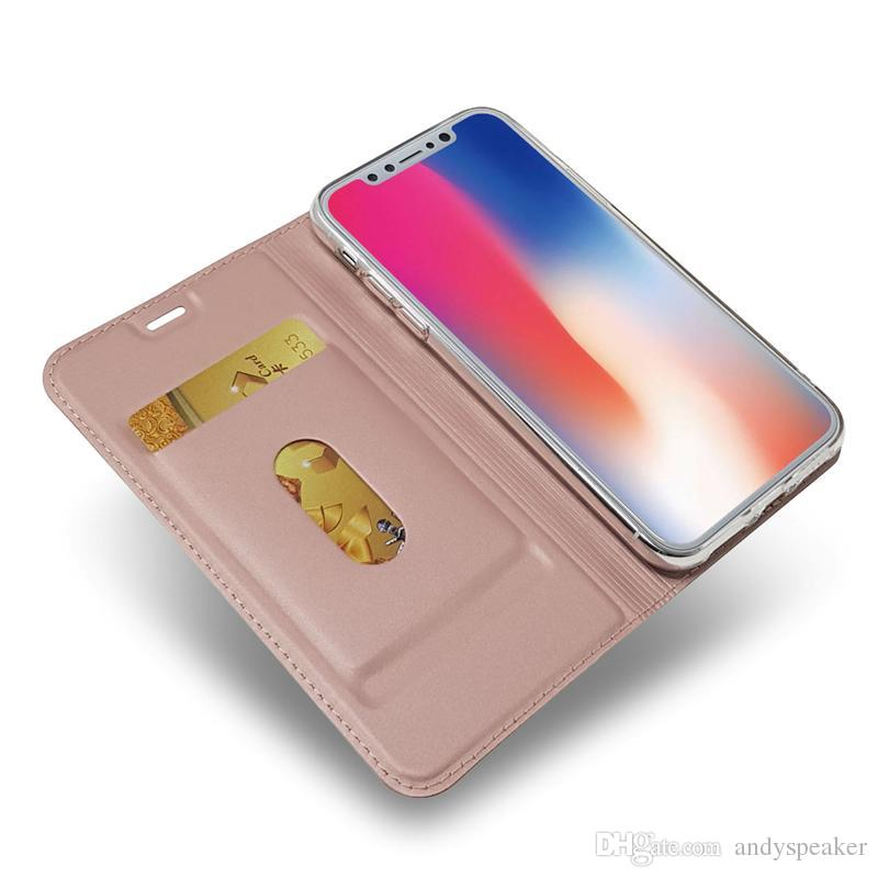 For iPhone X Wallet Case for iPhone 6 7 8 Plus Flip Stand with Magnetic Card Holder Cover /up