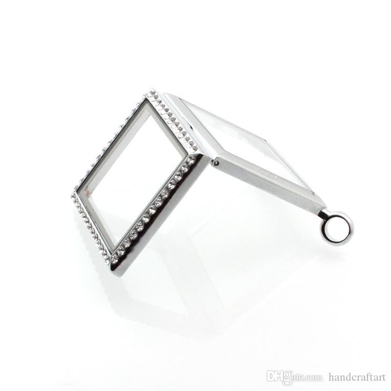 2016 Hot !! Silver Diamond Glass Glass Pływający Charm Locket Stop Cynkowy 30 * 30mm Łańcuchy dołączone za darmo LSFL014-1