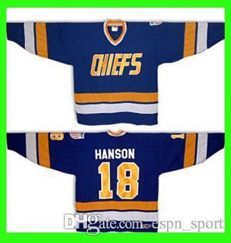 2019 18 Jeff Hanson Brothers SLAPSHOT Movie Charlestown CHIEFS Hockey Blue  Halloween Costume Custom Any Number NO.Sewn On Ice Hockey Jerseys From  Espn sport ... a2225fd4b