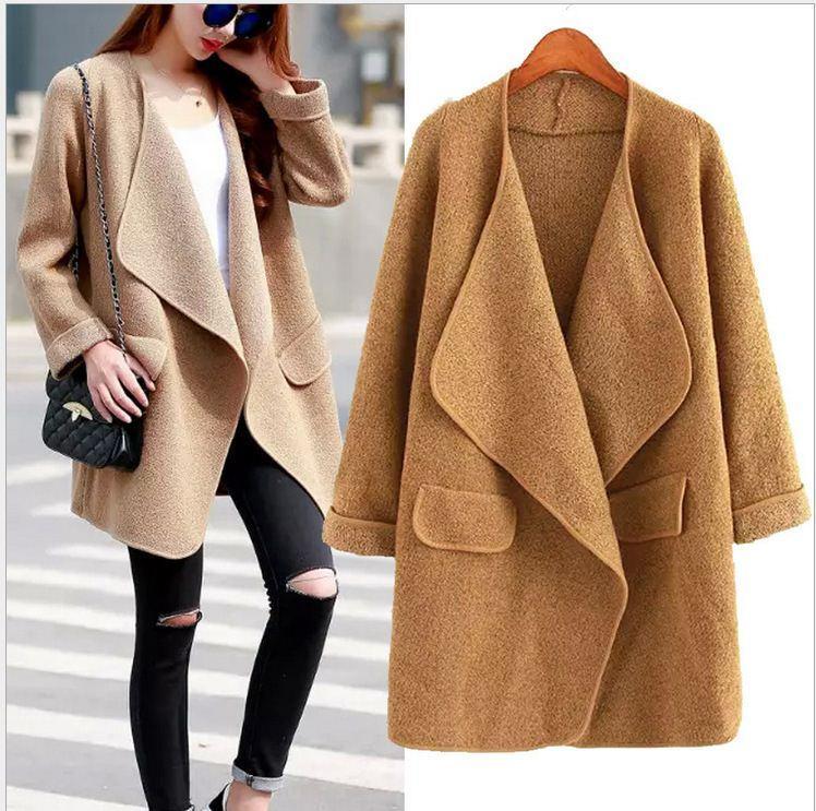 2017 European Style Women Plus Size Cardigan Sweater Long Sleeve ...
