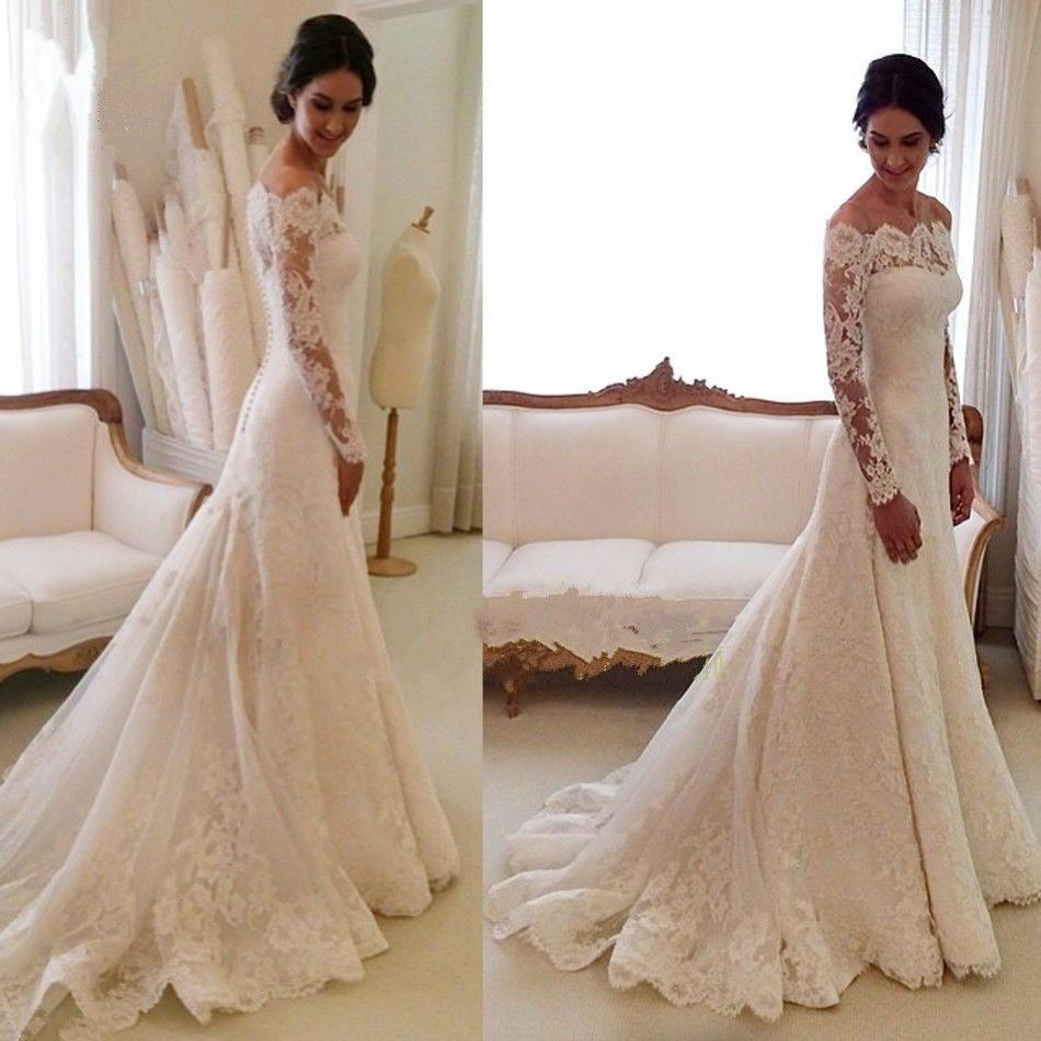 Discount country vintage wedding dresses sheer long sleeves off discount country vintage wedding dresses sheer long sleeves off shoulder button back a line bridal gowns church brides lace wedding dresses wedding dress ombrellifo Images