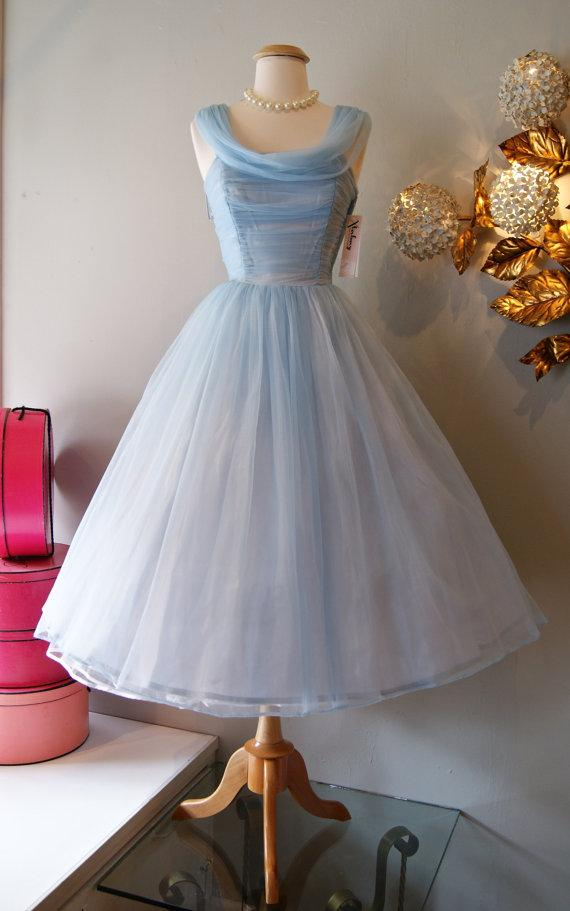 Vintage 1950'S Short Prom Dresses Tea Length Short Cinderella Blue ...