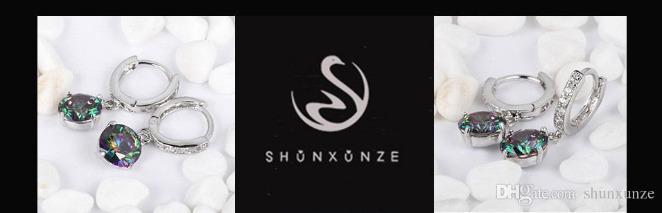 Shunxunze 약혼 결혼식 귀걸이 여성을위한 매력 보석 액세서리 간단한 무지개 큐빅 지르코니아 Dropshipping 로듐 도금 R723