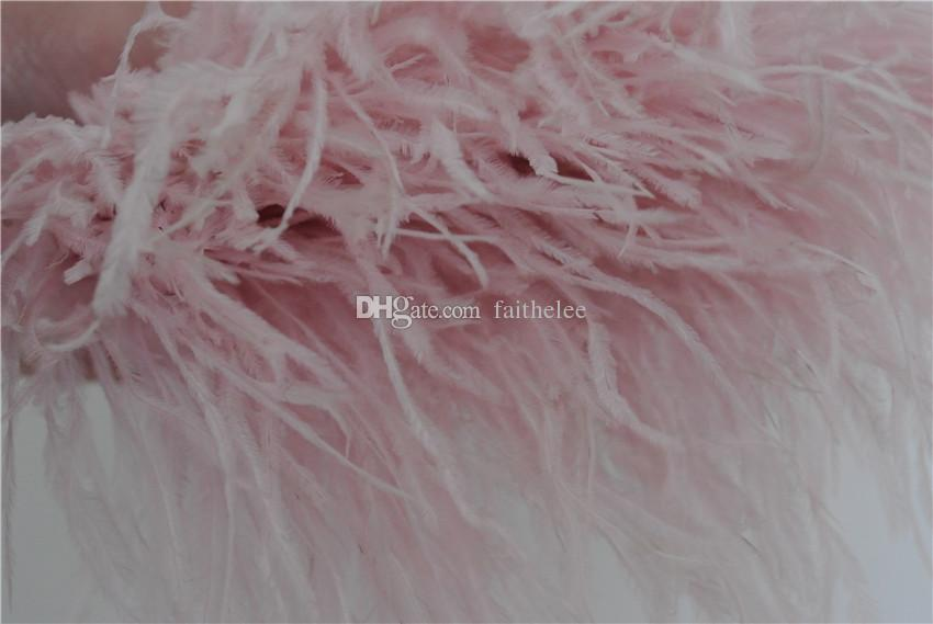 10 yards light pink ostrich feather trimming fringe feather trim on Satin Header 5-6inch in width for dress decor