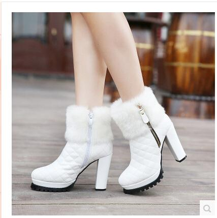 b4219eac840b 2015 Women Winter Leather Fur Ankle Boots High Heels Platform Boots Pumps  Ladies High Heel Winter Shoes J Platform Boots Chelsea Boot From  Excellentservice