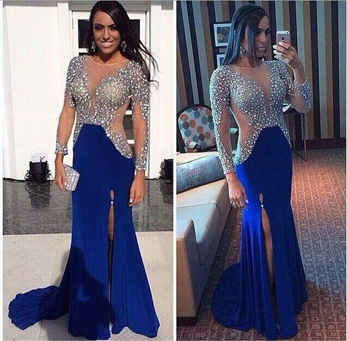 2016 Crystal Sequins Beaded Split Prom Dresses Long Sleeve Sexy Open Slit Royal Blue Evening Dresses Party Dresses Pageant Graduation Gowns