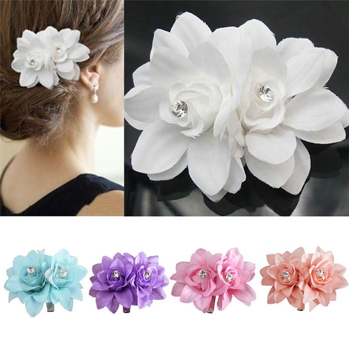 New arrivals fashion lady womens girl flower hair clips barrettes type hair clip material fabric metal flower size 4 cm 4 cm color white purple pink blue orange mightylinksfo