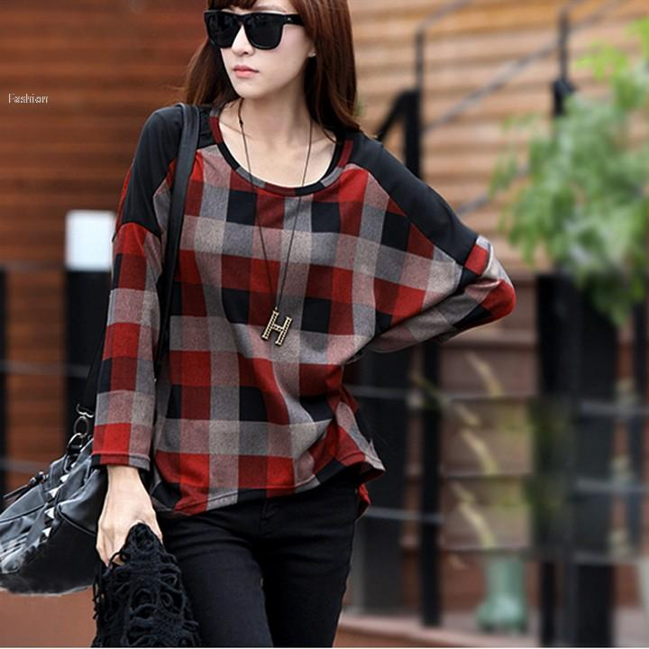 Autumn Women Girl Check Plaid Pattern Shirt Loose Bat Sleeve T Shirt  Red/Blue Funniest T Shirt Comical T Shirts From Shirley420, $17.71|  Dhgate.Com