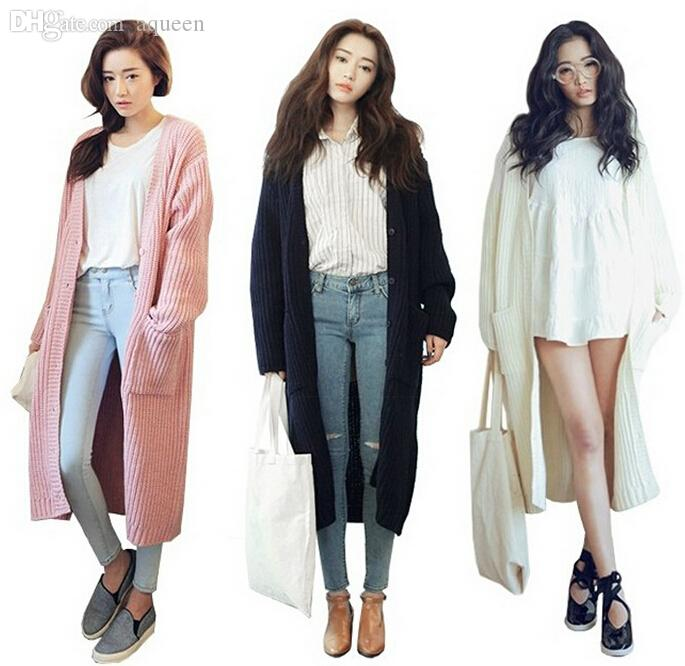 2018 Wholesale Korean Stylenanda New 2015 Women Long Cardigan ...