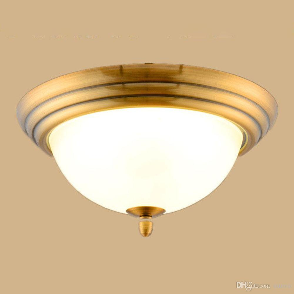 2017 Led European Vintage Bedroom Ceiling Light Living Room Copper Lighting Fixtures Frosted Glass Lampshade Country Rustic Lamps From Ouovo