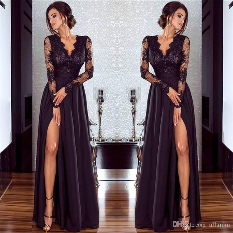 Sexy Black Prom Dresses Side Split Lace Deep V Neck Long Illusion Sleeves  Simple Backless Floor Length Formal Evening Prom Gowns Cheap Gown Royal  Blue Prom ... 07ab80c0a