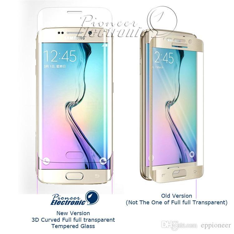 S7 S7EDGE S6 Borda Protetor de Tela Transparente Full Screen Premium Filme de Vidro Temperado para Samsung Galaxy S6 Borda Mais, 3D Curvo Claro