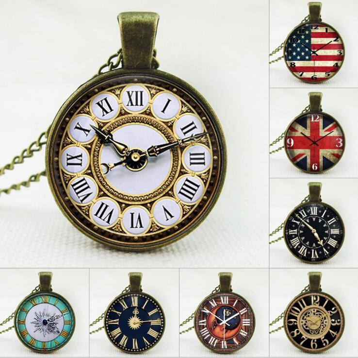 2016 US/UK Flag Clock Pendant Necklaces Charm Chains Time gem glass Statement Vintage necklace Stainless Steel Glass Cabochon Chain jewelry