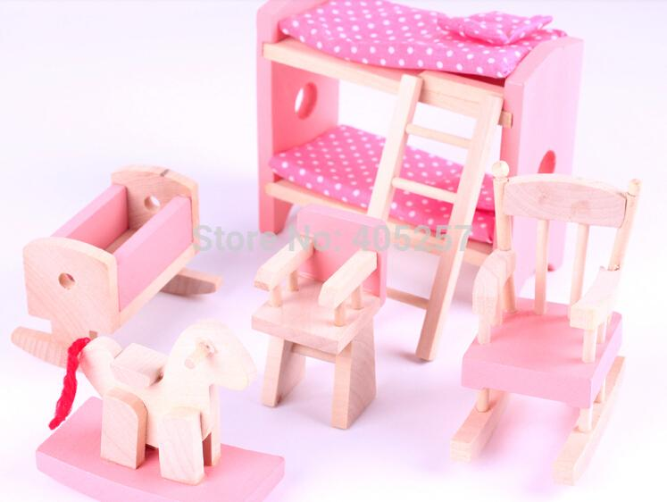 2019 Pink Wooden Dollhouse Miniature 6 Room Furniture For Dolls Baby