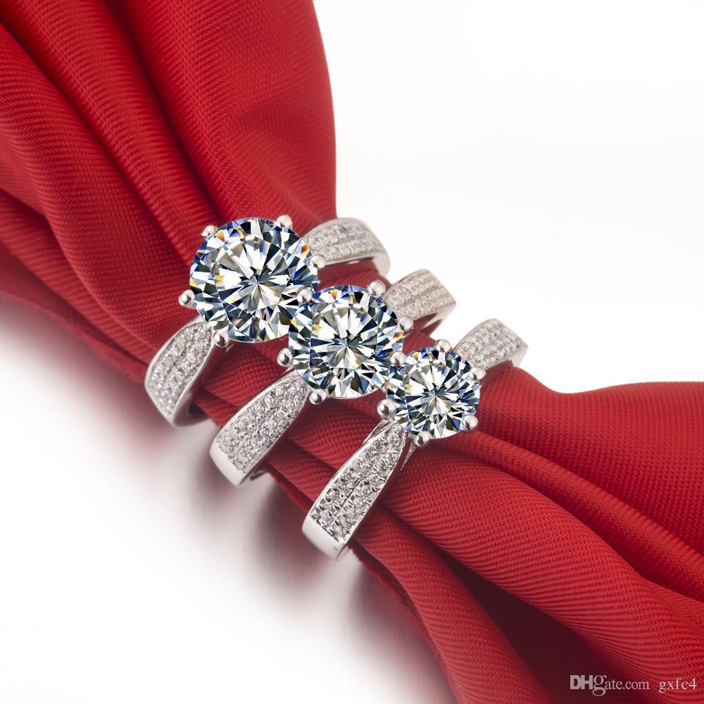 2 CT خواتم الماس الاصطناعية فضة عصابات الزفاف للنساء خواتم الخطبة للنساء الذهب الأبيض 18 كيلو قطرة الشحن