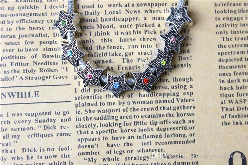Colorful Crystal Stars Alloy Charm Bead Fashion Women Jewelry Stunning Design European Style For DIY Bracelet