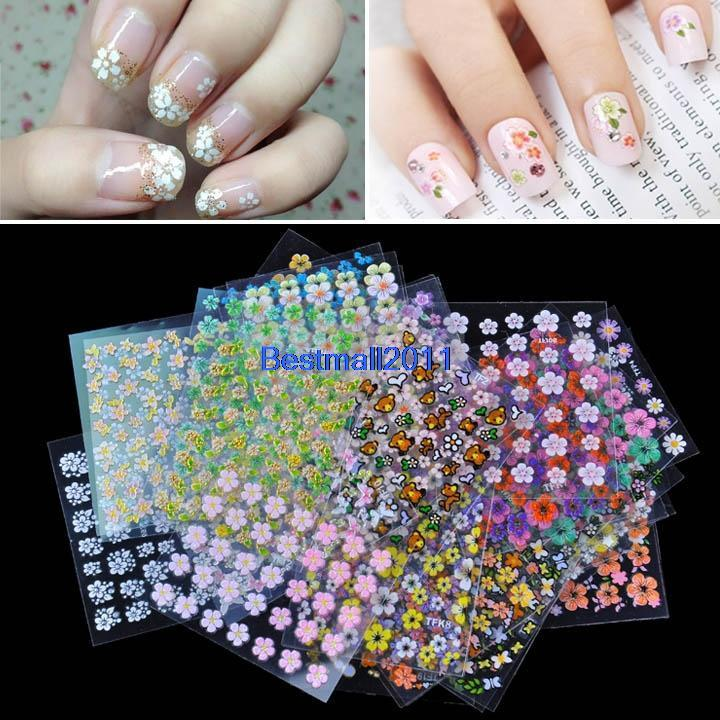 50 Sheet Mix Color Floral Design 3D Nail Art Stickers Decals Nail ...