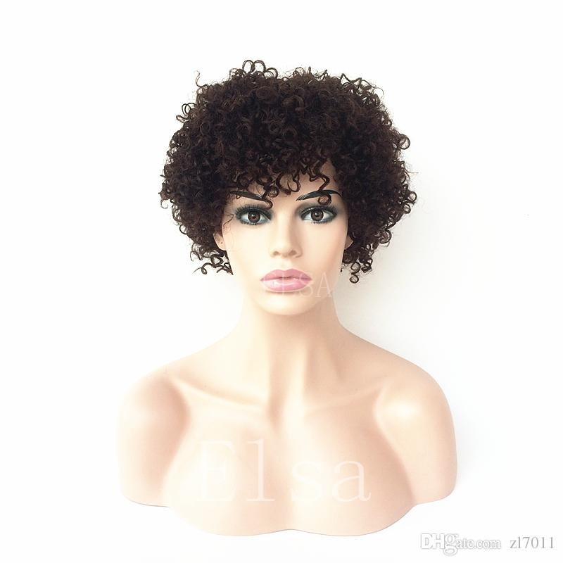 Cheap Natural black Short Cut Kinky Curly Afro Curl Wig Human Remy Hair Full Wigs For Black Women Natural Hairline Glueless Capless Wigs