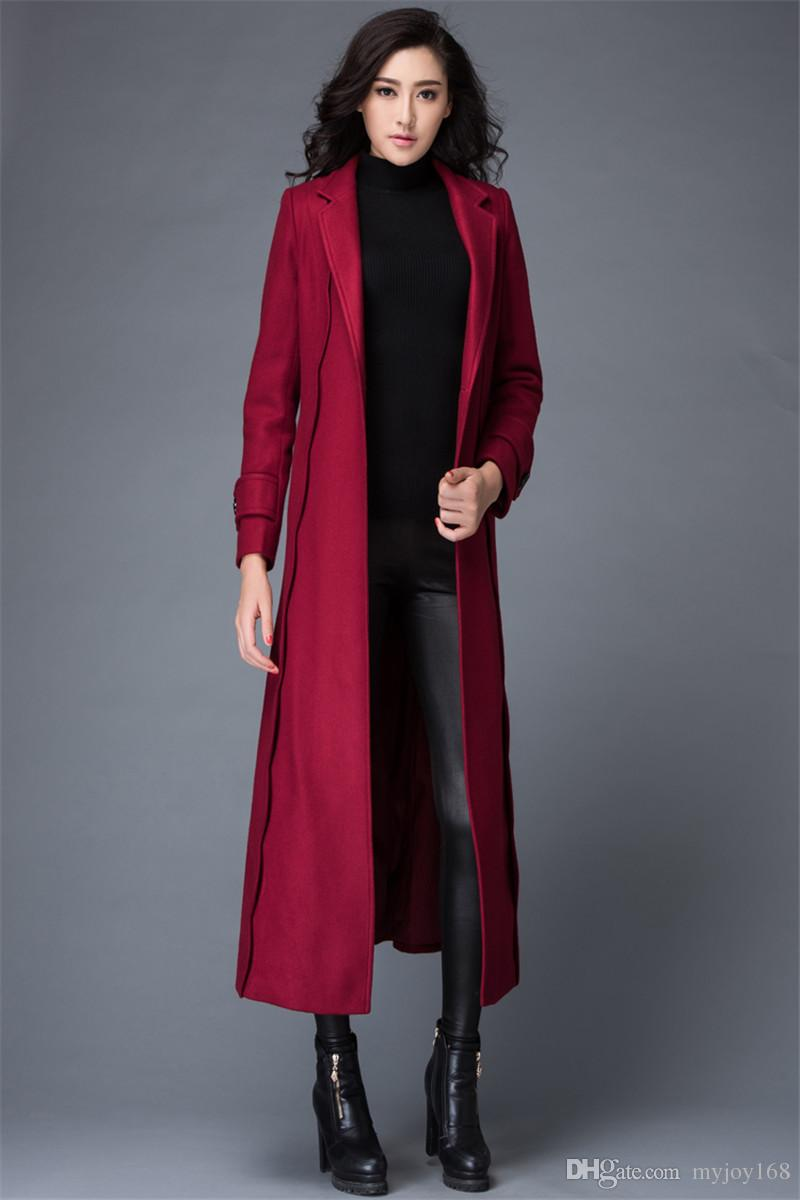 2018 New Fashion Suit Collar Red Color Wool Mink Coat With Red ...