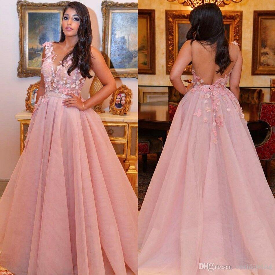 Modest Pink Backless Prom Gown Berta 2018 N Neck Applique Organza A ...