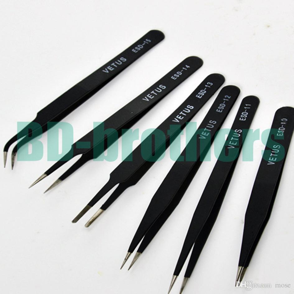 Pinzas VETUS negras HRC40 Pinza antiestática de acero inoxidable ESD 10 11 12 13 14 15 para reparación de teléfonos Reparación de herramientas de reparación 120 piezas
