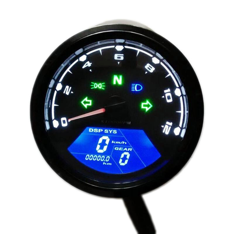 12000 RMP kmh/mph Universal Motorcycle Tachometer LCD Digital Odometer Speedometer Gear indicator Scooter Golf Carts ATV