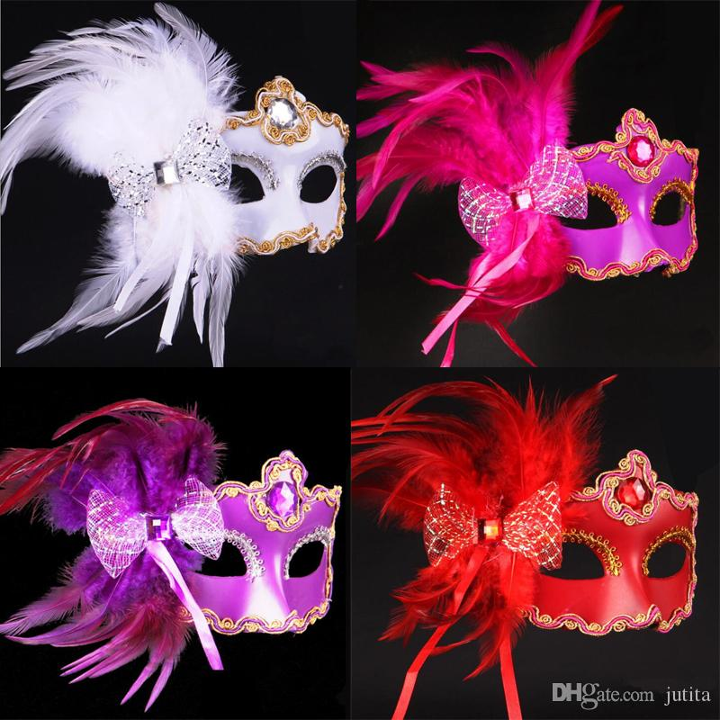 2018 Bowknot Feather Mask Venice Princess Masks Women Girls Halloween Dress Up Festive Decoration Party Supplies