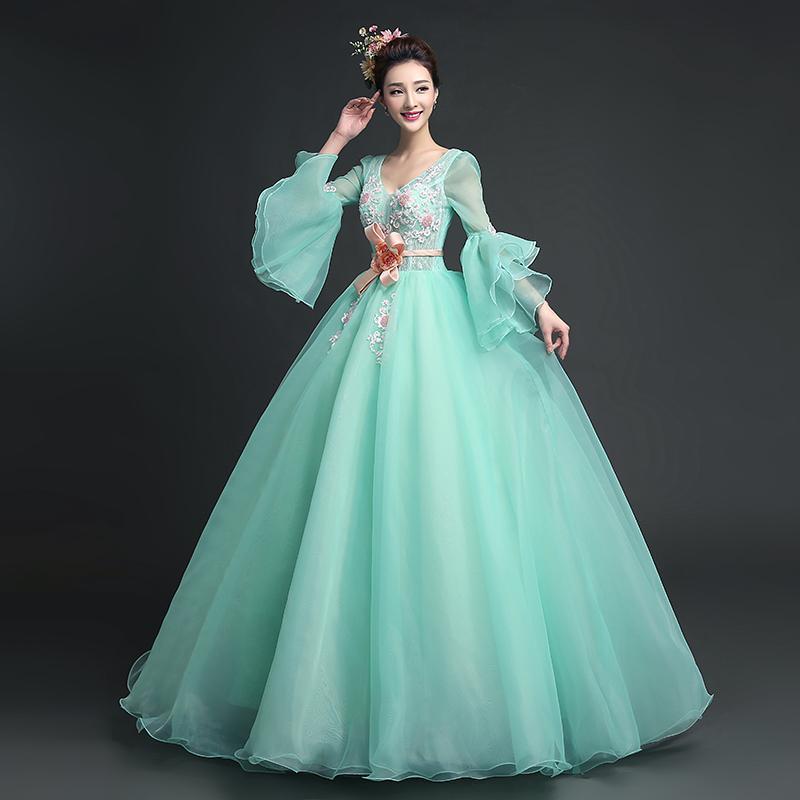 2217f883d Compre Vestido De 100% Real Verde Claro Con Volantes Vestido De Princesa  Medieval Vestido Renacentista Reina Victoria Cosplay   Antoinette   Vestido  De Bola ...