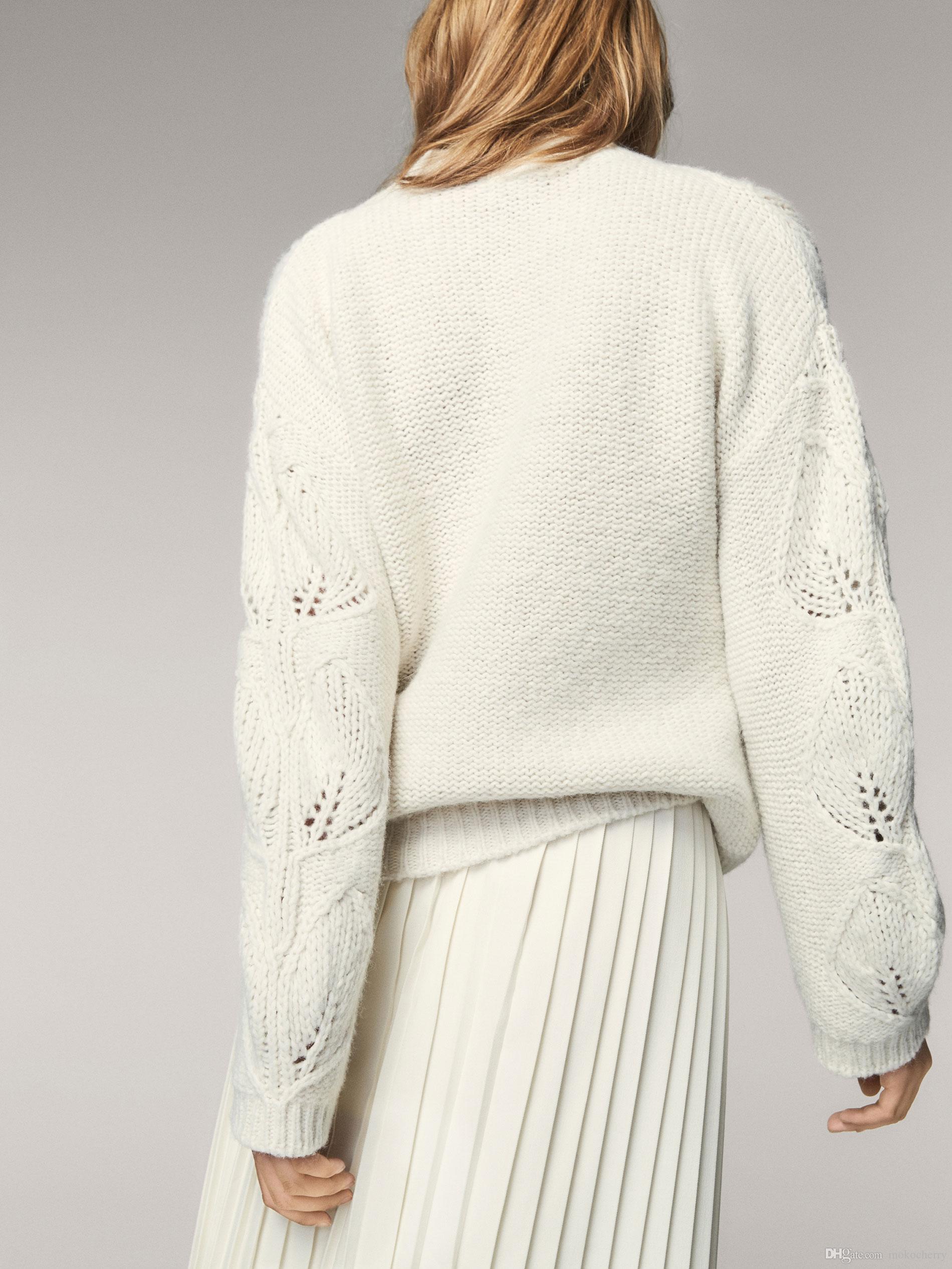 2019 Womens White Hollow Design Sweater Massimo Dutti Brand New