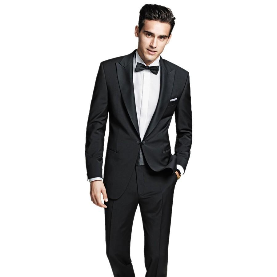 2016 Mens Slim Fit Wedding Suits Black Groom Tuxedos Groomsmen ...