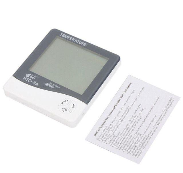 Termo-igrometro digitale luminoso LCD digitale con LED Temp Temp Hum Meter Tester Data Orologio HTC-8A Spedizione gratuita