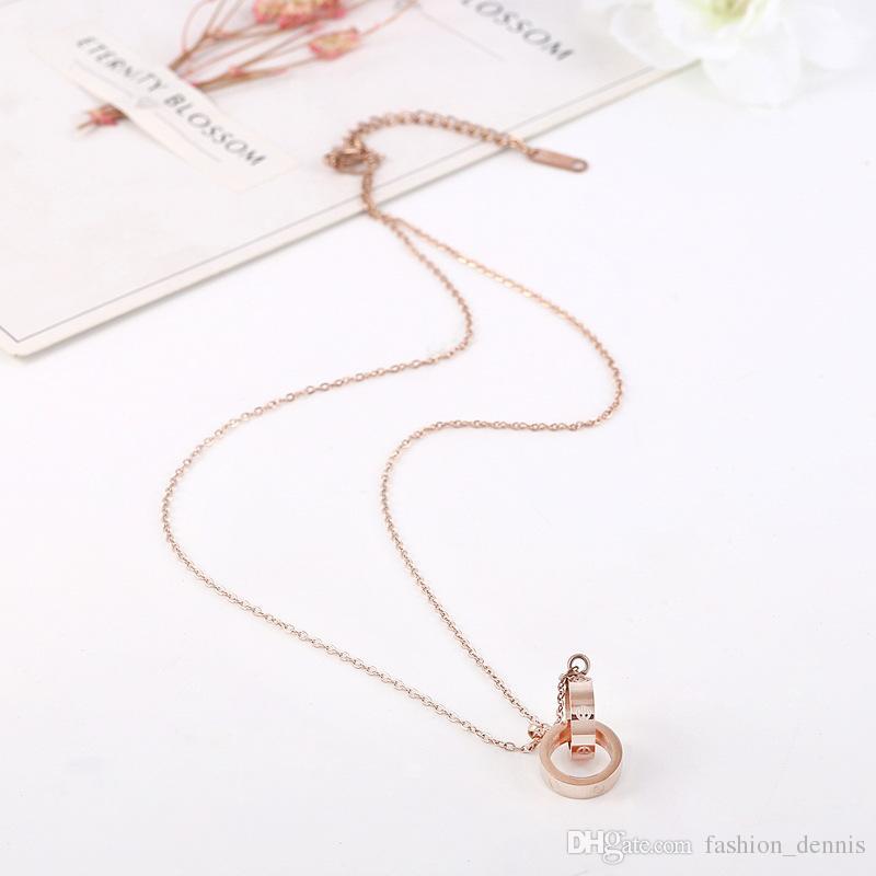Nouveau 316L Titanium acier Double Anneau pendentif colliers Rose Or Clover amour vis pendentif Chaînes De Lien Pour femmesLadies Mode Bijoux