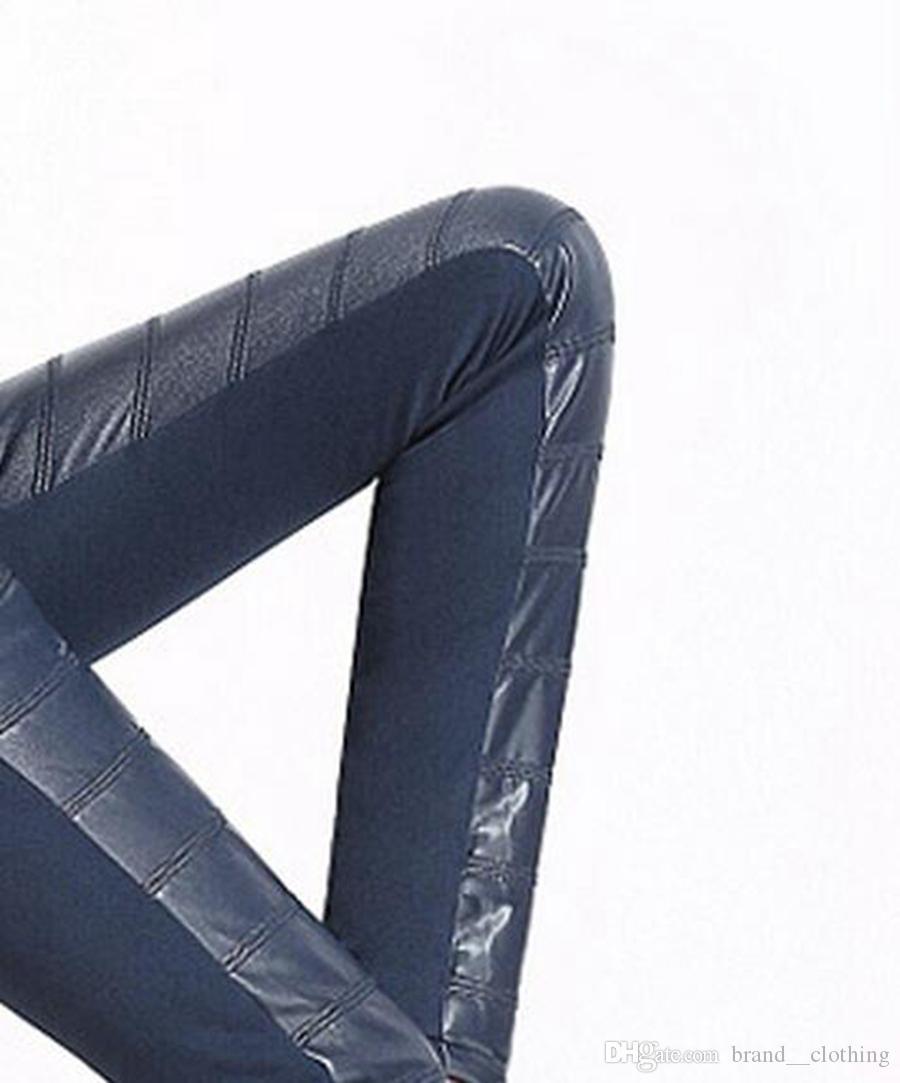 새로운 겨울 레저 패션 여성은 얇은 허리와 벨벳 두꺼운 따뜻한 꽉 스티치 큰 야드 연필 가죽 바지를 보여줍니다. S - 3xl